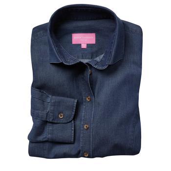商品Brook Taverner Womens/Ladies Banff Long Sleeve Chambray Shirt (Denim)图片