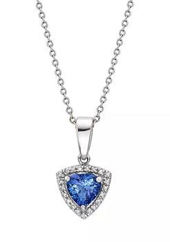 商品3/4 ct. t.w. Tanzanite and 1/10 ct. t.w. Diamond Pendant Necklace in 14K White Gold图片