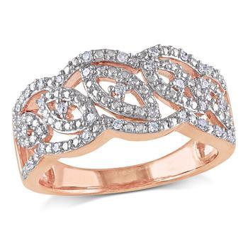 商品Amour Two-Tone Silver 1/5 CT TDW Diamond Intertwined Ring图片