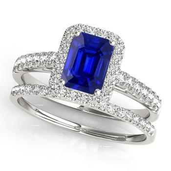 商品Maulijewels 0.85 Carat Emerald Cut Sapphire And Diamond Bridal Set Ring in 10K White Gold图片