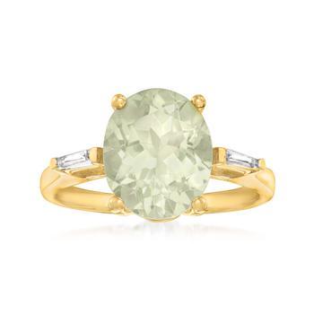 商品Ross-Simons Prasiolite Ring With . White Zircon in 18kt Gold Over Sterling图片