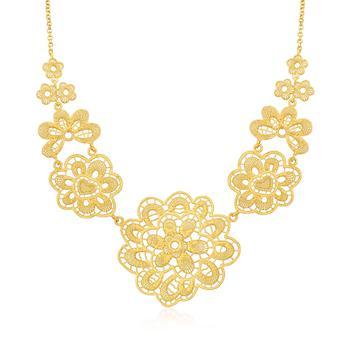 商品Ross-Simons Italian 18kt Gold Over Sterling Flower Necklace图片