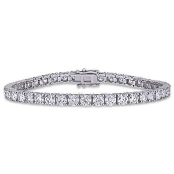 商品Amour Ladies 14k White Gold 9.625 Ct Round Cut White Moissanite Bracelet图片