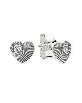 商品PANDORA Silver CZ Vintage Heart Studs图片