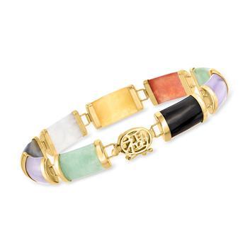"""商品Ross-Simons Multicolored Jade """"Good Fortune"""" Bracelet in 14kt Yellow Gold图片"""