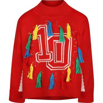 商品Colorful fringe detailing sweater in red图片