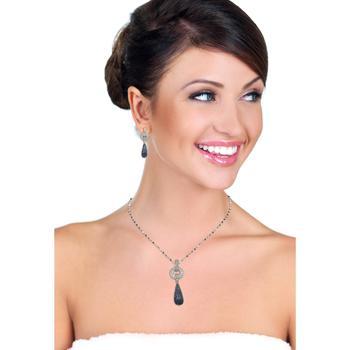 商品Suzy Levian Sterling Silver Sapphire and Diamond Accent Tear Drop Dangle Earrings图片