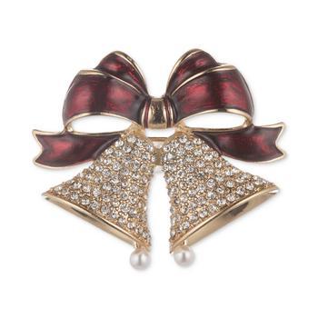商品Gold-Tone Pavé & Imitation Pearl Holiday Bell Pin图片