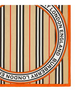 商品Icon stripe and logo graphic silk small square scarf图片