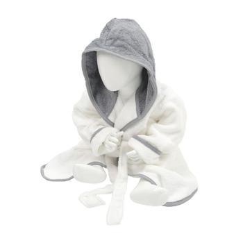 商品A&R Towels Baby/Toddler Babiezz Hooded Bathrobe (White/Anthracite Gray) (12/24 Months)图片