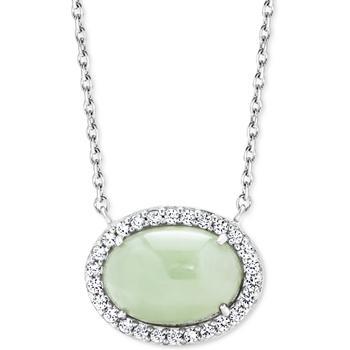 """商品Jade & White Zircon (1/2 ct. t.w.) 18"""" Pendant Necklace in Sterling Silver图片"""