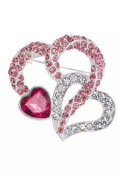 商品Silver Tone Pink Double Heart Boxed Pin图片