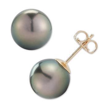 商品Black Cultured Tahitian Pearl (9mm) Stud Earrings in 14k Gold图片