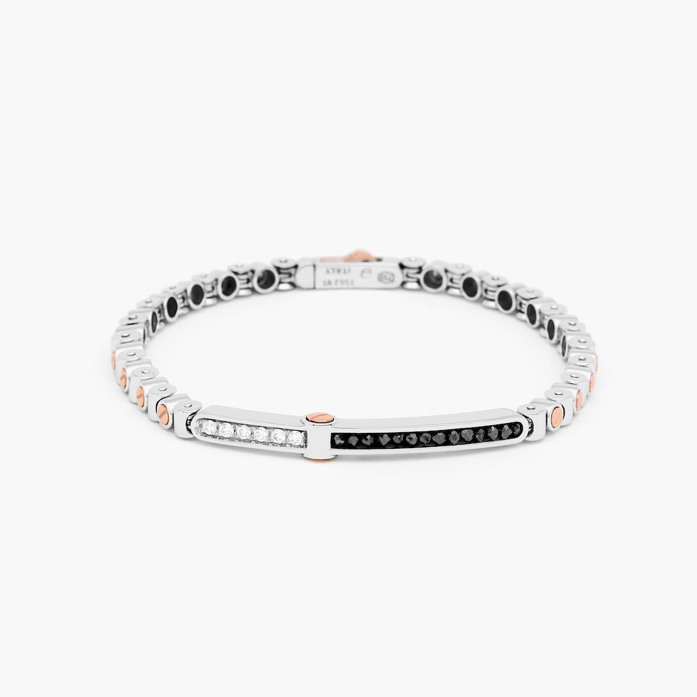 商品18k white gold bracelet with rose gold screws and black and white diamonds.图片