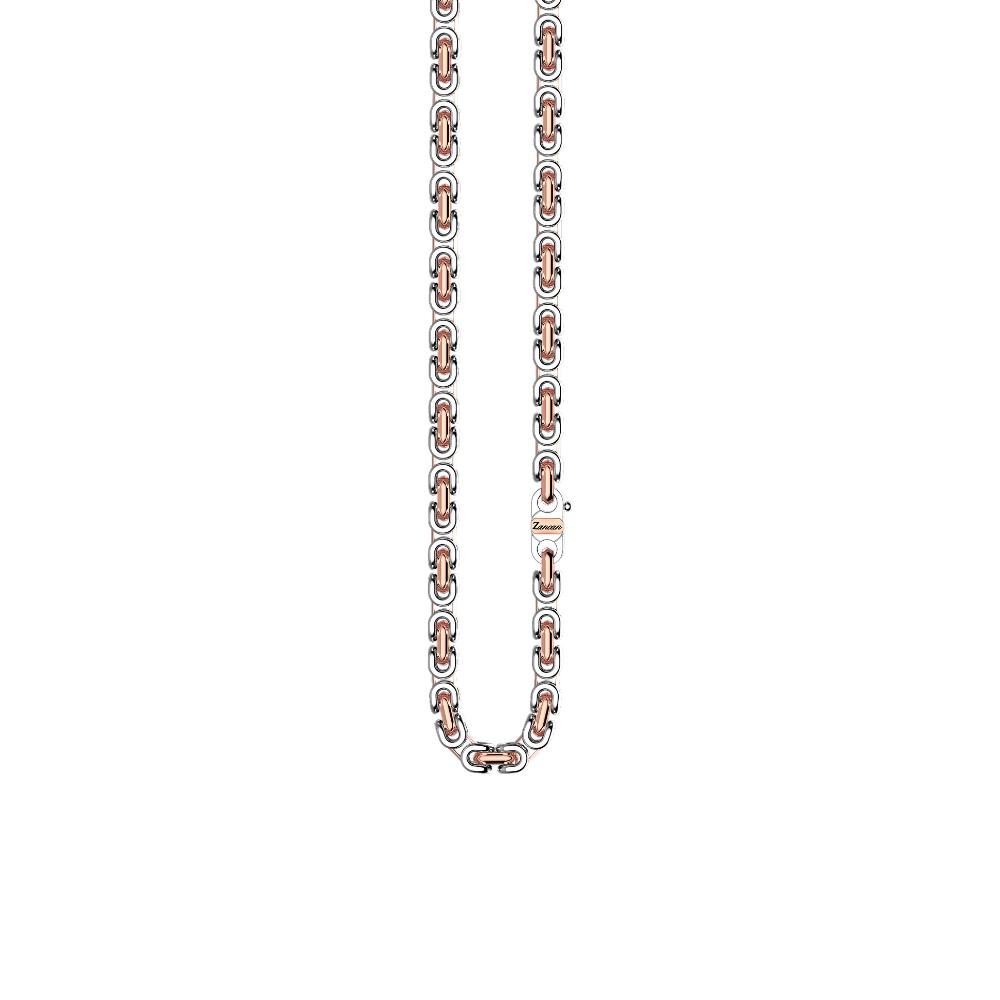 商品18k rose gold and sterling silver necklace with geometric design.图片