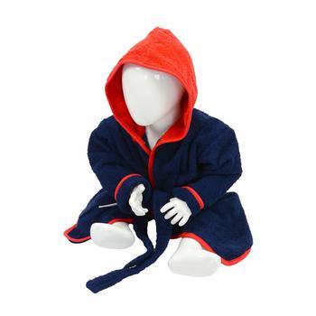 商品A&R Towels Baby/Toddler Babiezz Hooded Bathrobe (French Navy/Fire Red) (24/36 Months)图片