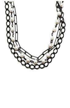 商品Black Rhodium Plated Sterling Silver Messy Layered 5mm Freshwater Pearl Necklace图片