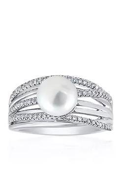 商品Freshwater Pearl and Diamond Band in Sterling Silver图片