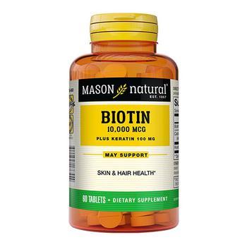 商品Mason Natural Biotin Plus Keratin 10,000 Mcg Tablets, 60 Ea图片